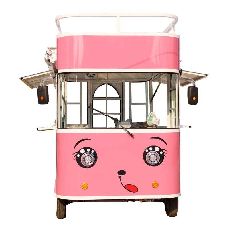 多功能电动四轮移动流动小吃餐车