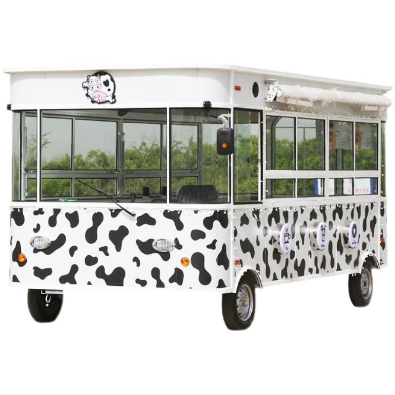 小吃车多功移动快餐烧烤餐车 欧式奶茶油炸电动地摊推车