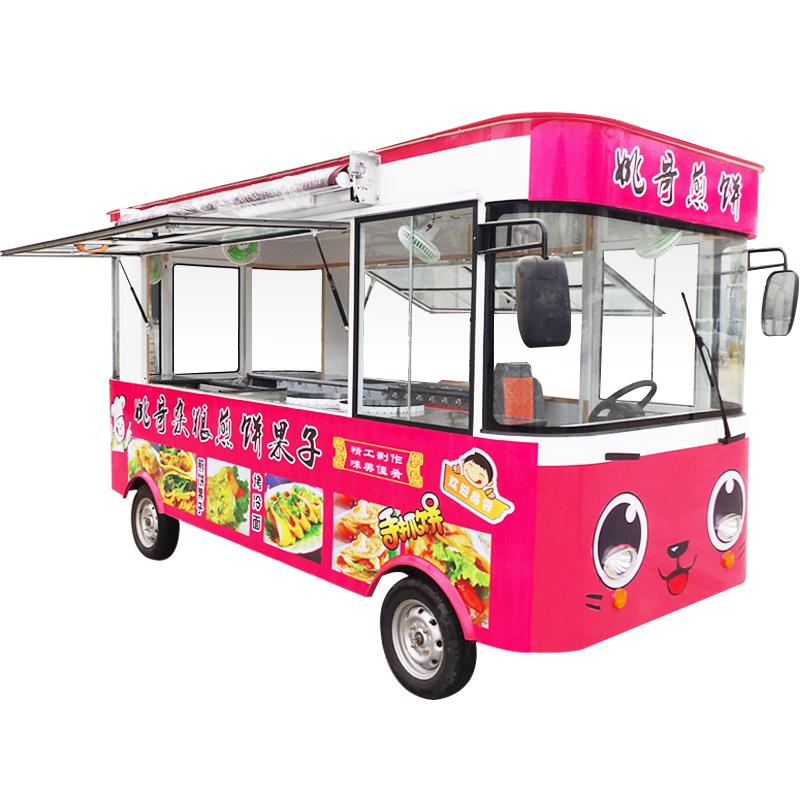 小吃车多功能电动四轮移动推车 奶茶油炸麻辣烫冰粉车