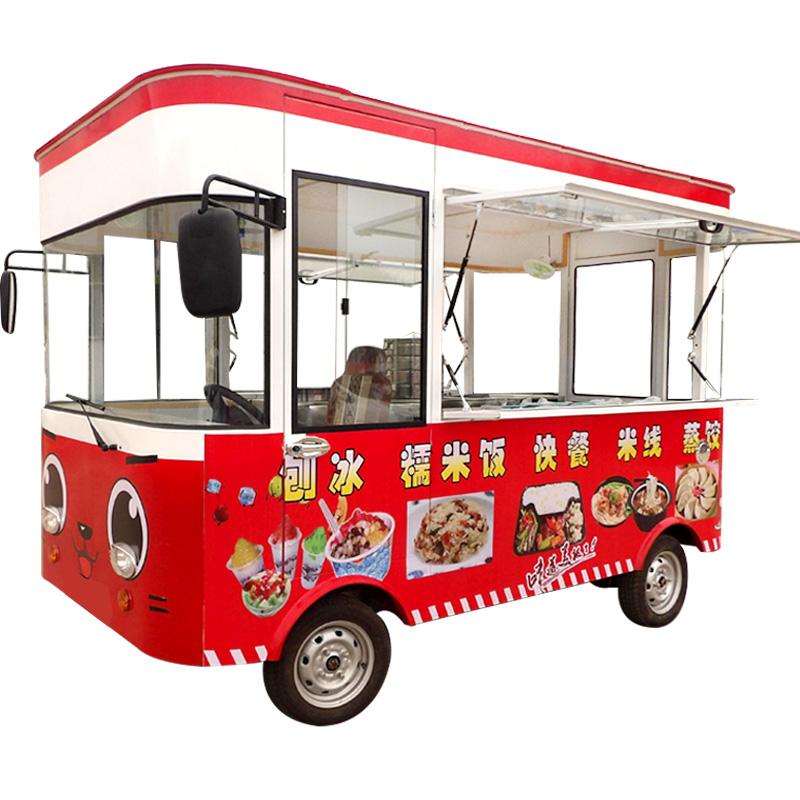小吃车电动四轮餐车冰粉摆摊移动商用多功能早餐车