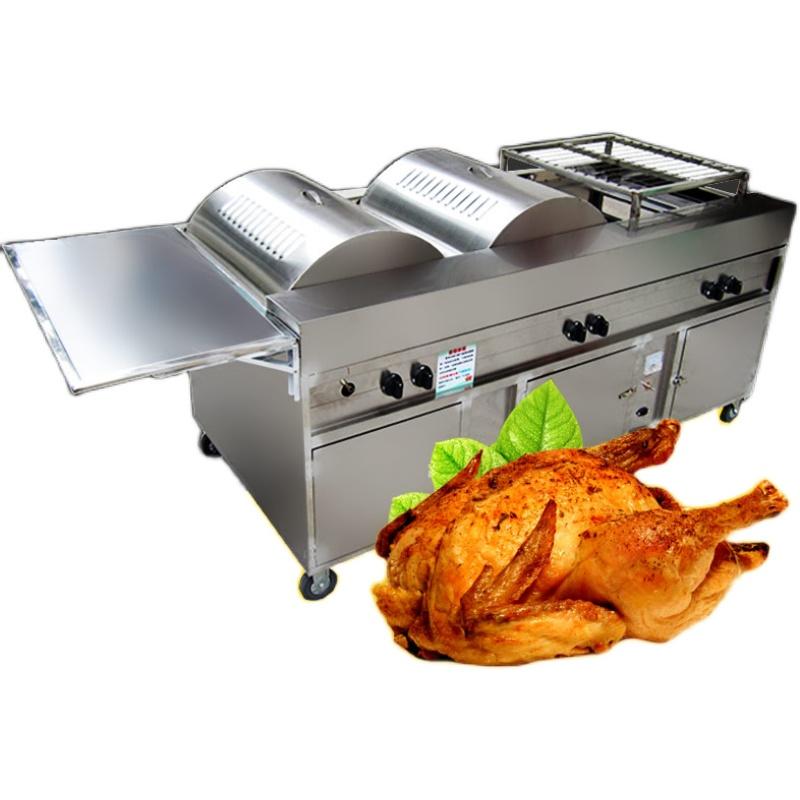 摇滚烤鸡炉 自动旋转烧烤车 煤气无烟商用烤箱