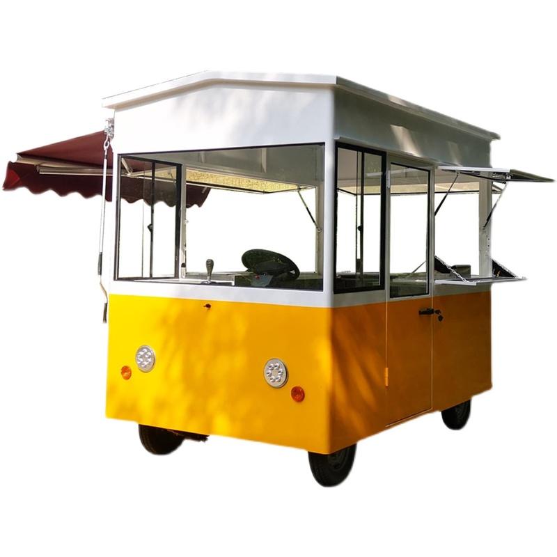 电动小吃车 四轮多功能商用早餐车 定制炸串烧烤美食车