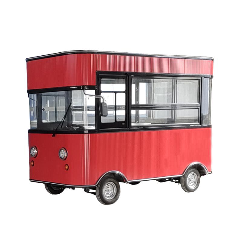 电动四轮小吃车多功能美食餐车 商用摆摊车 烧烤早餐油炸车