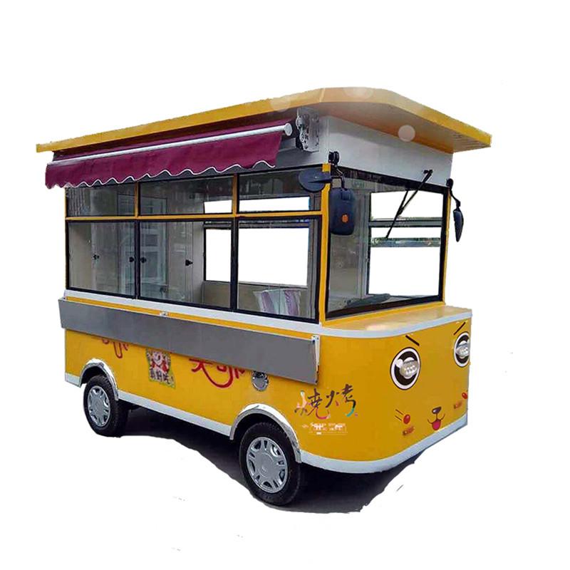 小吃车多功能餐车电动四轮推车 不锈钢凉菜煎炸卤煮餐车