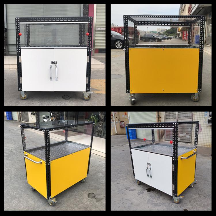手推摆摊组装多功能小吃车 有机玻璃展示柜凉菜菜餐车架子