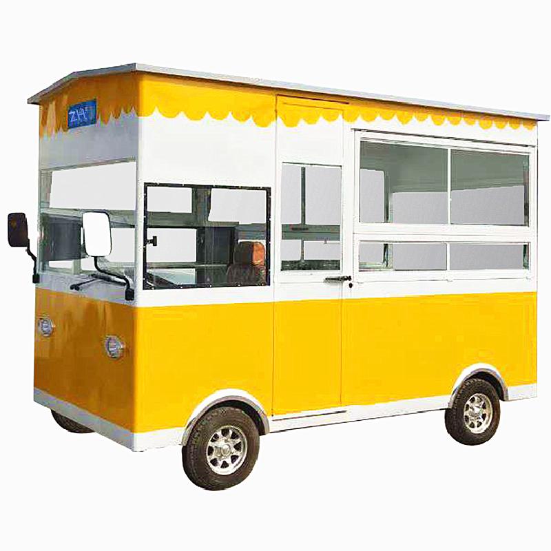 厂家定制:多功能餐车流动售货电动四轮小吃车